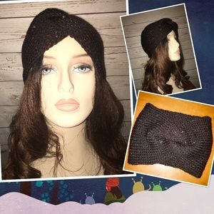Knit  brown fall winter earwarmers. Adult /teen